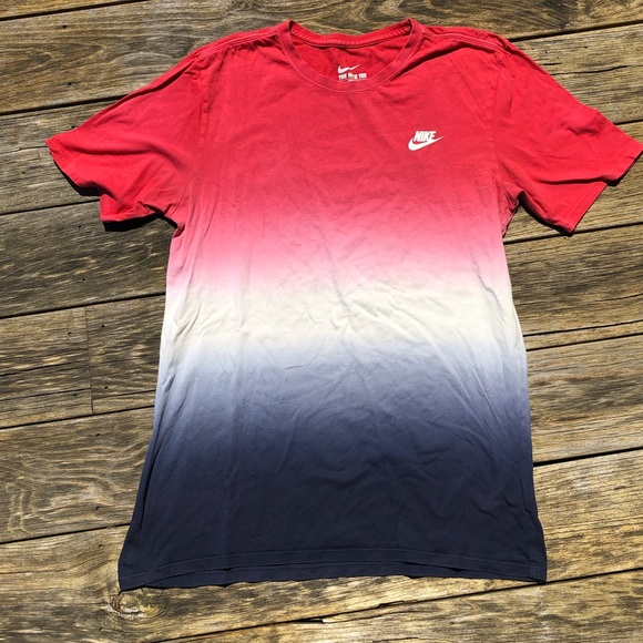 nike red white and blue shirt